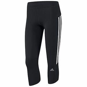BRAND NEW SIZE 8 ADIDAS RESPONSE 3/4 LEG TIGHTS, BLACK WITH WHITE STRIPES
