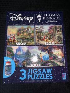 Disney Thomas Kinkade 3 Jigsaw Puzzles & Glue Mickey Cinderella Snow White NEW