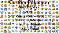 Pokemon Let's Go Pikachu & Eevee Any Custom 6 Shiny Pokemon 6IV/Max/AV Set PLGPE