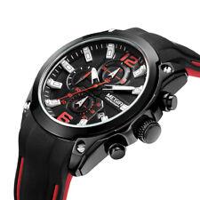 MEGIR Sport BIG FACE Wrist Watch Men Quartz Chronograph Black Silicone Band 2063