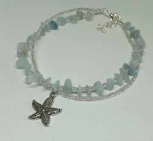 Aquamarine Gemstone Chips Bohemian Double Strand Starfish Charm Beach Anklet