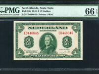 Netherlands:P-65,2½ Gulden,1943 * Queen Wilhelmina * PMG Gem UNC 66 EPQ *