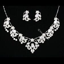 Bridal Wedding Crystal Flower Necklace Earring Set N272