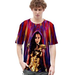 3D Printed Short Sleeve Wonder Woman Tee Tops T-Shirt Women Men