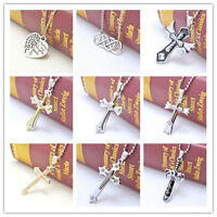 New Gift Unisex's Men Rhinestone Silver Stainless Steel Cross Pendant Necklace