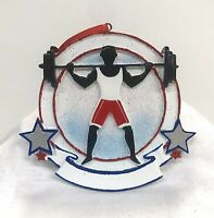 """Weight Lifter Ceramic Christmas Tree Ornament Personalize It 4""""x 3.75""""x .5"""""""