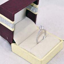 18K White Gold Finish Size 7 Round 1.40 Ct Diamond Engagement Silver Ring