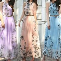 Women Fashion Flower Halter Neck Long Dress Sleeveless Maxi Floral Print Dress
