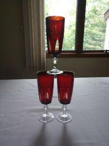 SET 3 VINTAGE CRISTAL D'ARQUES-DURAND GOTHIC ARCH Parfait. RUBY RED & CLEAR.