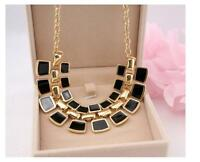 Women Fashion Crystal Charm Statement Bib Pendant Chain Chunky Choker Necklace