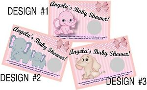 BABY GIRL PINK ELEPHANT SCRATCH OFF OFFS PARTY GAME GAMES CARDS SHOWER FAVORS
