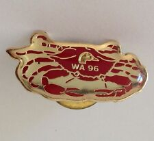 WA 96 Red Crab Pin Badge Vintage Retro Quality (N1)