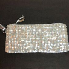 Mother of Pearl Evening Bag Purse Clutch Handbag Wrist Strap Zipper