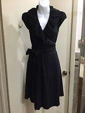 Diane Von Furstenberg Black Wrap Around Little Black Dress Size 6
