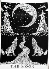 Small The Moon Wolf Black Tapestry Wall Art Hippie Poster Indian Cotton Ethnic
