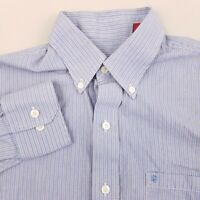 IZOD Luxury Sport Mens Button Up Shirt Size Small Long Sleeve Striped Blue White