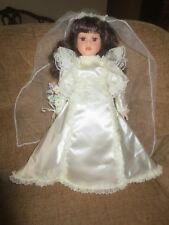 Seymour Mann Frederika Porcelain Bride Doll in Wedding Dress with Flowers