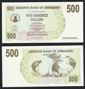 Zimbabwe 500 dollars 2007 FDS-/UNC-  A-02