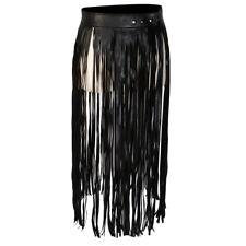 Hippie Fringe Tassel Black PU Leather Women Belt High Waist Long Belts Dress