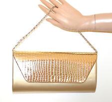 SAC  à main POCHETTE femme OR clutch doré métallique chaîne argent handbag G54
