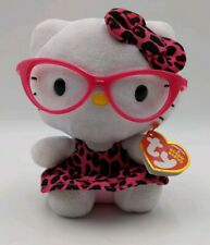 """2014 TY BEANIE BABIES HELLO KITTY NERD LEOPARD GLASSES 5.5"""" BY SANRIO -With tags"""
