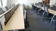 Pod of Fourteen 1200mm Desks, Centre Screens,  Under Desk Cable tray, grey frame