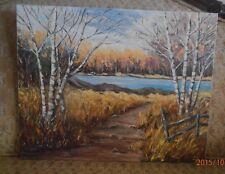 Country Birch Tree Scene OiL on Canvas Board signed Fern Bone 80 Size 20 X 16