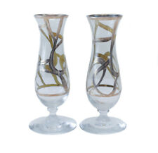 Art Glass & Sterling Silver Overlay Footed Bud Vases, circa 1940