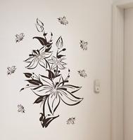 """XL Wandtattoo """"LILIE"""" Deko Set 120cm Tattoo Wandaufkleber Wandsticker Blume NEU"""