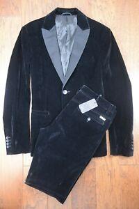 Armani Exchange A|X Men's Tuxedo Collar Black Velvet Blazer Jacket 42 & Pants 33