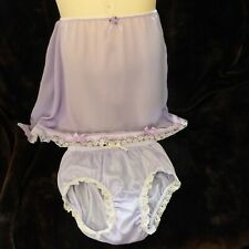 Pretty Sissy Lilac Sheer Half Slip and Lilac Semi Sheer Full Knickers Bows Lace