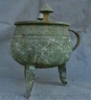 "9,2 ""vase à boire en verre chinois de la dynastie Ware Ware Bronze Beast Handle"
