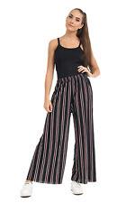 Womens Plus Size Sandra Striped Print Flared Wide Leg Palazzo Trousers 10-16