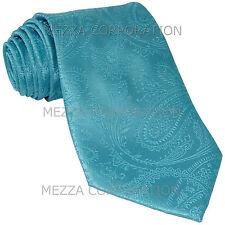 New Vesuvio Napoli polyester Men's necktie paisley wedding formal Turquoise blue