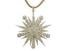 3.65ct Diamond and 18 ct Yellow Gold, Silver Set Star Brooch / Pendant - Antique
