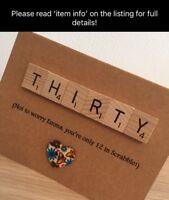 Scrabble Art Personalised Birthday Card 30th 40th 50th 60th 70th 80th 90th 100th