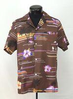 VTG Made Hawaii Hawaiian Shirt Aloha Kai Nani Palm Hibiscus Boats 60s 70s Tiki M