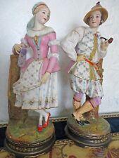 Antica coppia di statue in porcellana francese biscuit XIX secolo