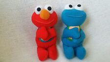 "2 Sesame Street 7"" plush Elmo Cookie monster soft Texture pals baby toys 1997"