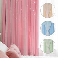 1/2PCS Double layer Curtains Yarn&Blackout Floor Starry Creativity Curtain Kids