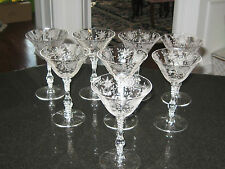 """Cambridge Crystal """"Wildflower """" Set Of  (8) TALL CHAMPAGNE SHERBERTS 6 3/8 3121"""