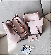 4 in 1 Korean Bag Leather Bag Shoulder Tote Bag Set (Pink)