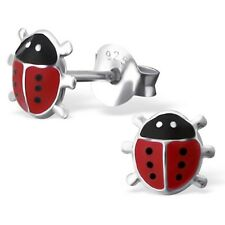 Childrens Girls Sterling Silver Red Ladybird Stud Earrings 6mm - Boxed