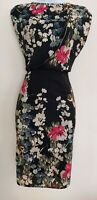 Womens F&f Dress size 12 black pencil flowers party occasion casual pretty vgc