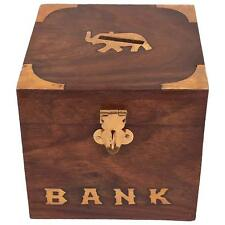 Wooden Money Bank for Kids Elephant Design Antique Piggy Bank 10cm Money Box