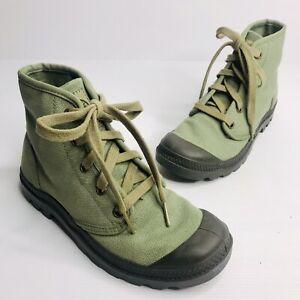 PALLADIUM Size US 6 EU 37 Khaki Green Canvas Lace Up Rubber Toe Cap Ankle Boots