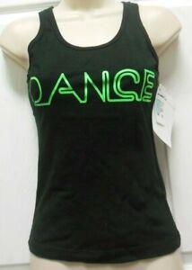 BE THE BUN TANK NEON GREEN BLACK DANCE TANK Small Adult RUNS SMALL 1 Sz