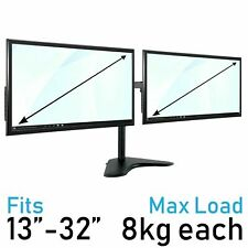 "Dual Monitor Mount - 2 Computer Screen Stand 13-32"" Twin Display TV VESA"