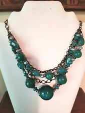 Gray-SilverTone Faceted Lucite Green Bead & Ball 4 row Necklace, Adjustable Link