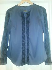 ANN TAYLOR Navy blue with Black lace detailed  LONG SLEEVES SHIRT,Sz 8,NWOT